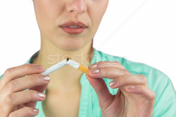 Kadın sigara beyaz ölüm Stok fotoğraf © wavebreak_media