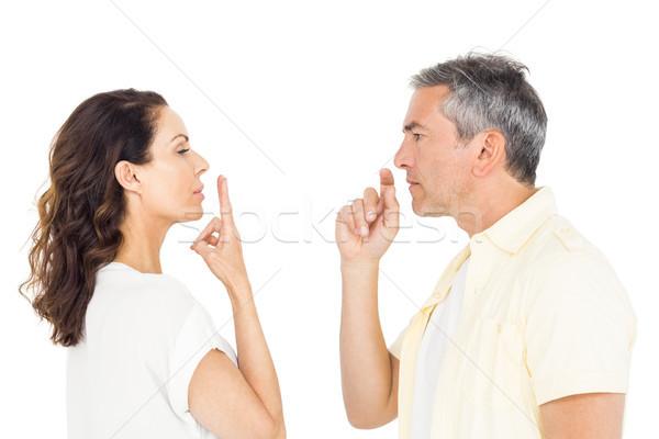 Fókuszált pár gesztikulál fehér nő háttér Stock fotó © wavebreak_media