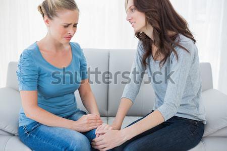 Pszichológus fiatal nő otthon ül kanapé toll Stock fotó © wavebreak_media