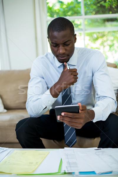 человека сидят диван учета домой Сток-фото © wavebreak_media
