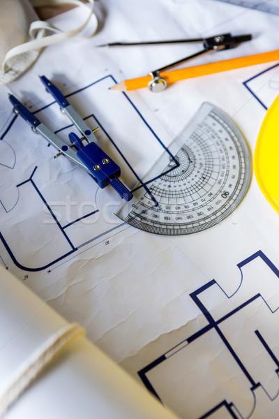 Felszerlés tervek használt ács poros műhely Stock fotó © wavebreak_media