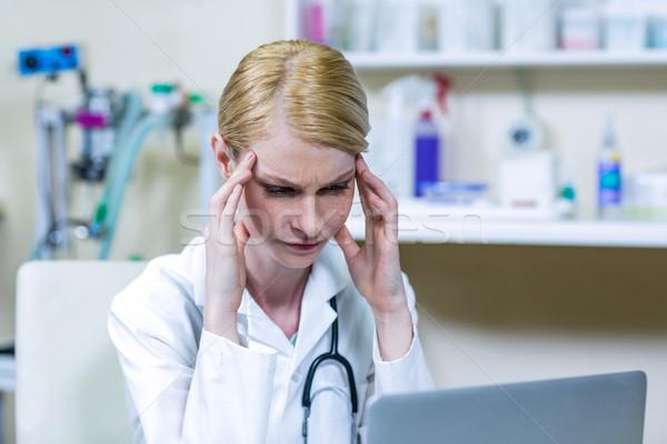 Stock photo: A woman vet reflecting
