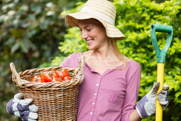 Happy gardener holding tomato basket and work tool Stock photo © wavebreak_media