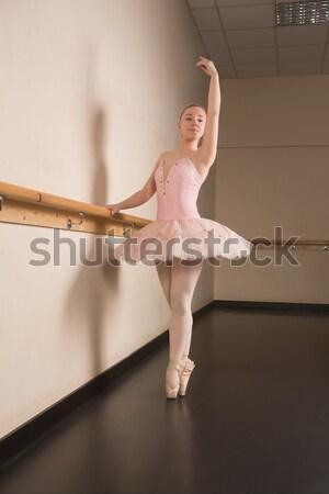Fából készült szobrocska mutat plakát tart fehér Stock fotó © wavebreak_media