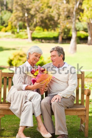 Altos mujer tazón albaricoque jardín Foto stock © wavebreak_media