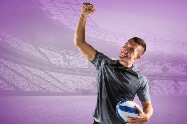Imagem alegre rugby jogador ar Foto stock © wavebreak_media