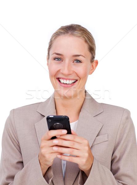 üzletasszony küldés szöveg izolált fehér üzlet Stock fotó © wavebreak_media