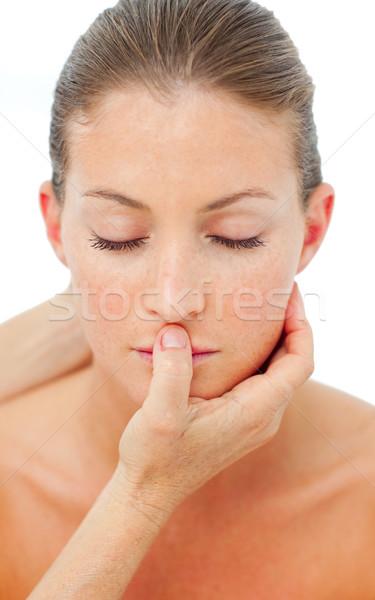 Encantador mulher cabeça massagem estância termal isolado Foto stock © wavebreak_media