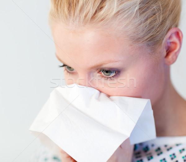Patienten Grippe jungen Krankenhaus Gesicht Frauen Stock foto © wavebreak_media