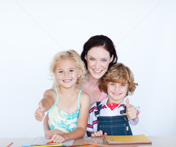 Stok fotoğraf: çocuklar · ödev · anne · mutlu · öğrenci