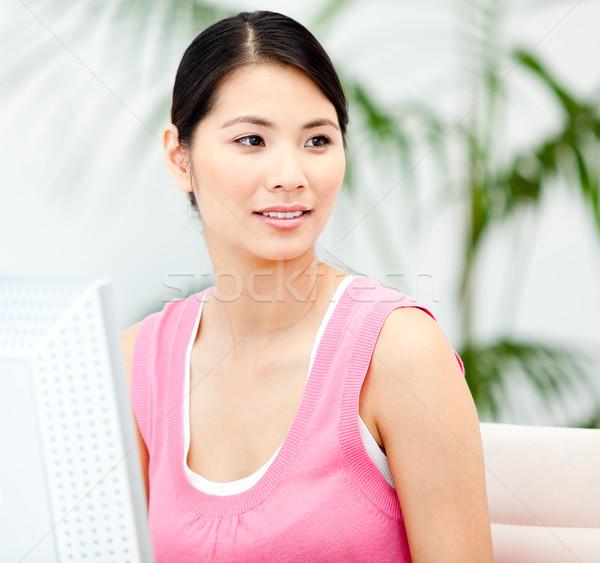 Femme d'affaires travail ordinateur bureau heureux Photo stock © wavebreak_media