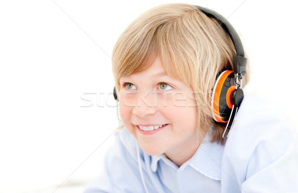 Portret cute jongen muziek slaapkamer meisje Stockfoto © wavebreak_media