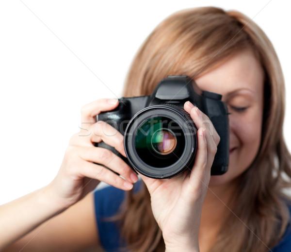 Bájos nő kamera fehér űr fotó Stock fotó © wavebreak_media
