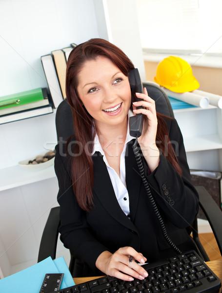 Hırslı işkadını konuşma telefon ofis Stok fotoğraf © wavebreak_media