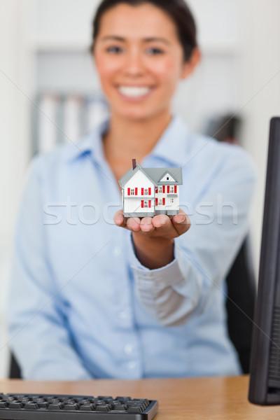 Stock foto: Miniatur · Haus · schöne · Frau · Büro · Computer · Frau