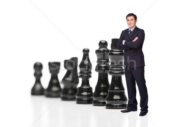 Empresario negro piezas de ajedrez deporte éxito jugar Foto stock © wavebreak_media