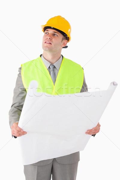 肖像 ビルダー 見える 周りに 計画 ストックフォト © wavebreak_media