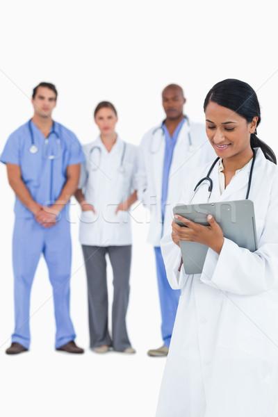 ストックフォト: 女性 · 医師 · メモを取る · スタッフ · 後ろ · 白