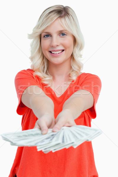 Mulher sorrindo ventilador dólar notas mãos Foto stock © wavebreak_media