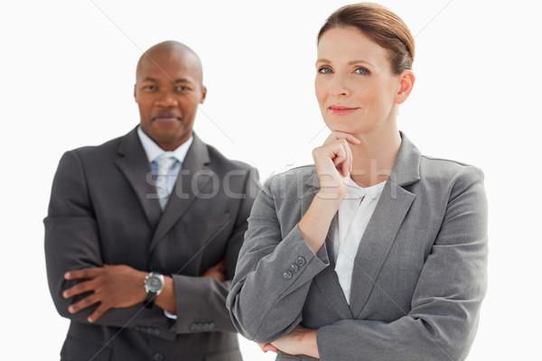 Сток-фото: улыбаясь · бизнесмен · за · деловая · женщина · голову