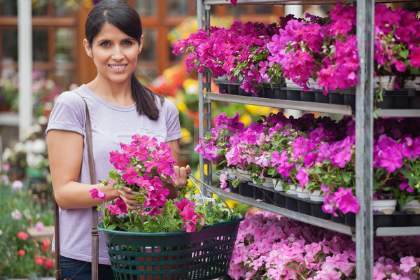 Woman smiling and carrying a basket of flowers in garden center Stock photo © wavebreak_media