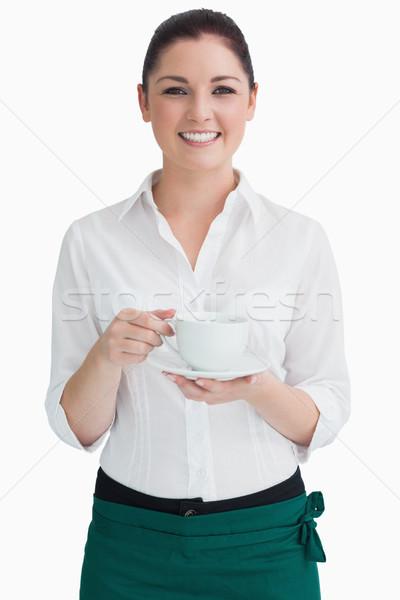 ストックフォト: ウエートレス · カップ · ソーサー · 白 · 幸せ