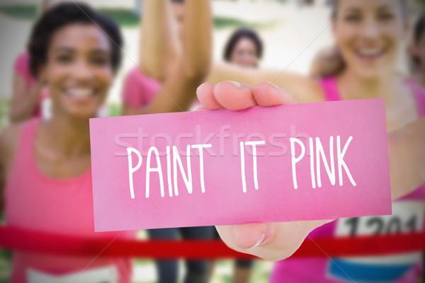 Obraz rak piersi świadomość tekst karty Zdjęcia stock © wavebreak_media