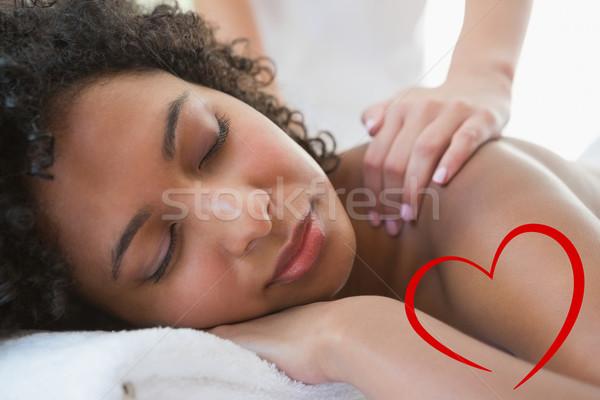 összetett kép káprázatos nő élvezi váll Stock fotó © wavebreak_media
