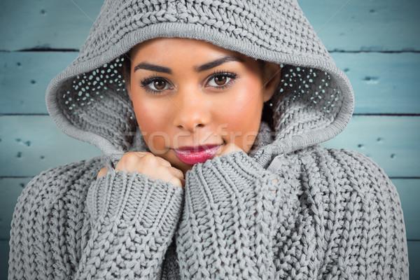 összetett kép csinos lány tél néz Stock fotó © wavebreak_media