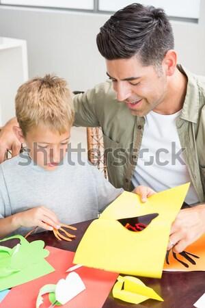 Ojciec pomoc syn praca domowa tabeli domu Zdjęcia stock © wavebreak_media