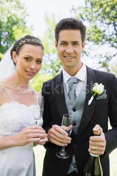 Newlywed couple having champagne Stock photo © wavebreak_media