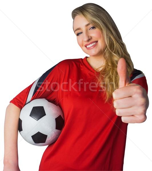 Mooie voetbal fan Rood witte voetbal Stockfoto © wavebreak_media