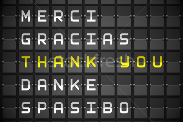 Stock photo: Thank you in languages on black mechanical board