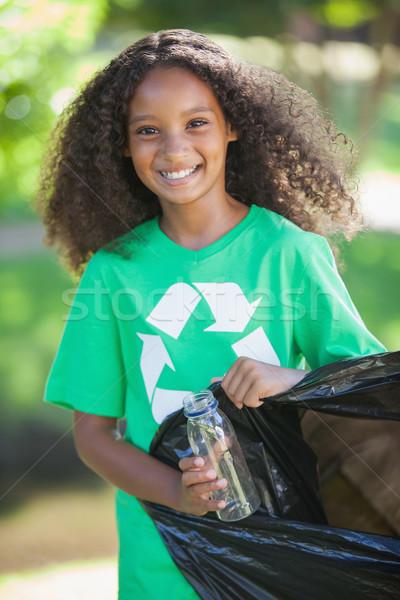 Fiatal környezeti aktivista mosolyog kamera szőlőszüret Stock fotó © wavebreak_media