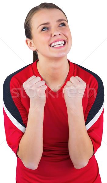 Excitado fútbol ventilador rojo blanco Foto stock © wavebreak_media