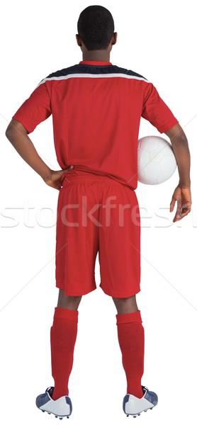 Сток-фото: красивый · футболист · красный · футбола · Gear · мужчины