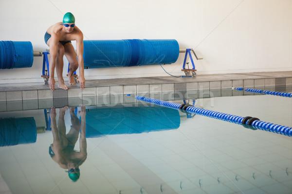 Fitt úszó kész alámerülés medence szabadidő Stock fotó © wavebreak_media
