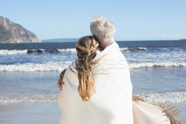 Pareja hasta manta playa mirando fuera Foto stock © wavebreak_media