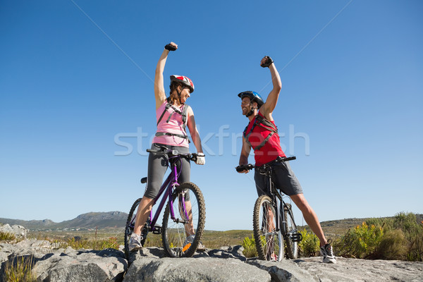 Dopasować rowerzysta para kobieta Zdjęcia stock © wavebreak_media