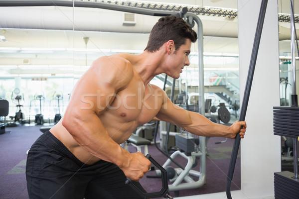 Shirtless muscular man using resistance band in gym Stock photo © wavebreak_media