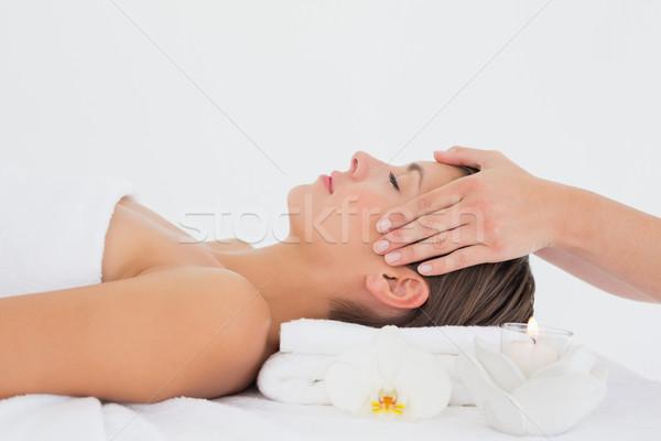 Stockfoto: Aantrekkelijk · jonge · vrouw · hoofd · massage · spa · centrum