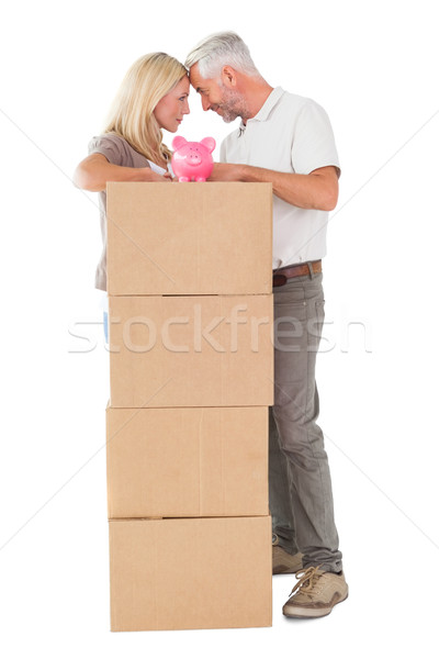 Boldog pár dől köteg költözködő dobozok persely Stock fotó © wavebreak_media