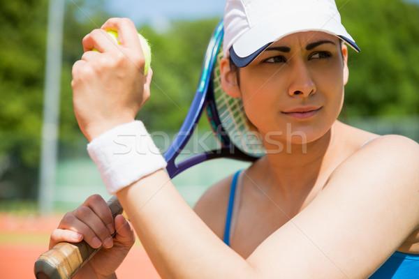 Csinos teniszező ül bíróság napos idő sport Stock fotó © wavebreak_media