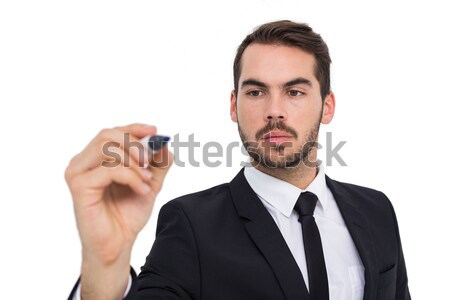 Gericht zakenman schrijven fiche witte pak Stockfoto © wavebreak_media