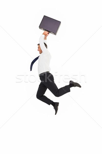笑みを浮かべて ビジネスマン ブリーフケース 白 幸せ スーツ ストックフォト © wavebreak_media