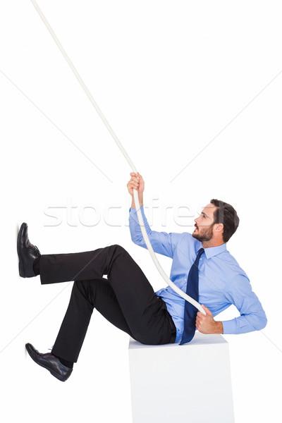 Işadamı halat çaba beyaz adam Stok fotoğraf © wavebreak_media