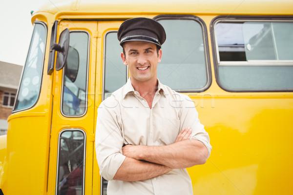 笑みを浮かべて バス ドライバ 見える カメラ 外 ストックフォト © wavebreak_media