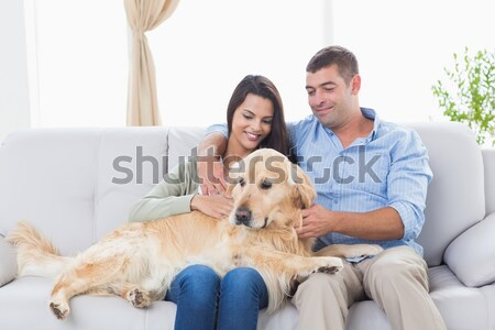 Parents watching children on rug with labrador Stock photo © wavebreak_media