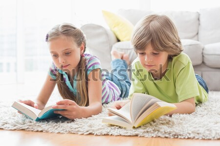 Siblings laying on the floor reading storybook Stock photo © wavebreak_media