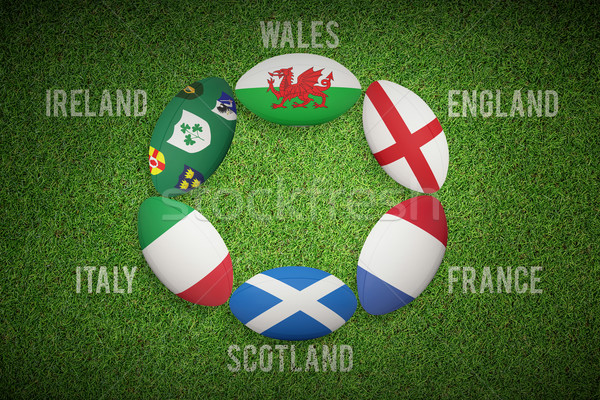 Composite image of six nations rugby balls Stock photo © wavebreak_media